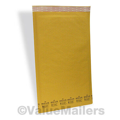 200 6 12.5x19 Kraft Ecolite Bubble Mailers Padded Envelopes Bags 12.5 X 19 50.4
