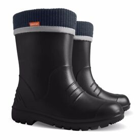 Demar Wellington Boots for kids, model Dino, New with cotton inside, Black, EVA material
