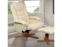 NEW/BOXED Electric leather massage chair.Recliner swivel remote control seat & footstool