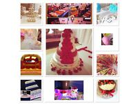 Wedding cakes, chocolate fountain, Candyfloss, fruit display, bouncy castle, crystal cake stand