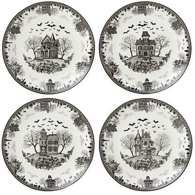 "Set of 4  Lenox Haunted Village HALLOWEEN 4 piece Dessert 8""  Plate Set  NIB"