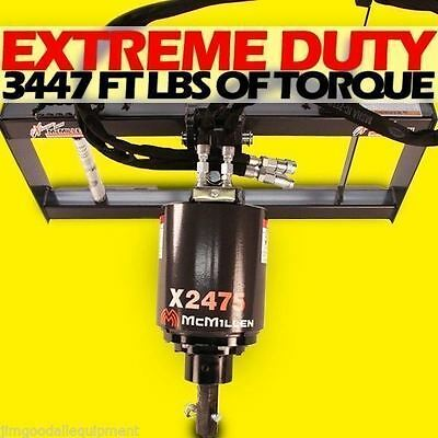 Skid Steer Auger 3000psi Extreme Dutygear Drive Mcmillen X2475 Comes W15 Bit