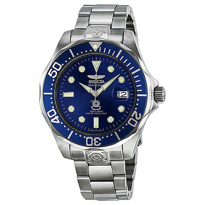 Invicta Grand Diver Blue Dial Stainless Steel Mens Watch 3045