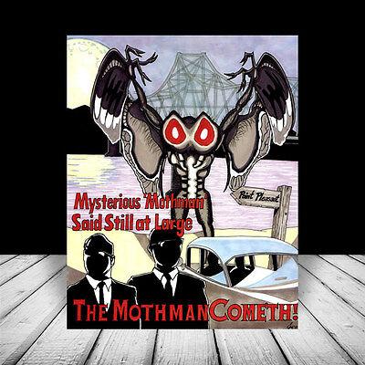 THE MOTHMAN paranormal figure POSTER ART, supernatural monster alien prophecies