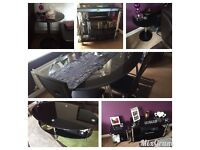 Full lounge/dining set 7 pieces black glass