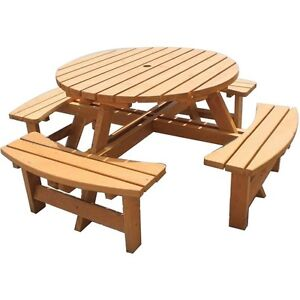 MARIBELLE 8 SEATER ROUND GARDEN/PUB BENCH SEAT STAINED PINE FURNITURE