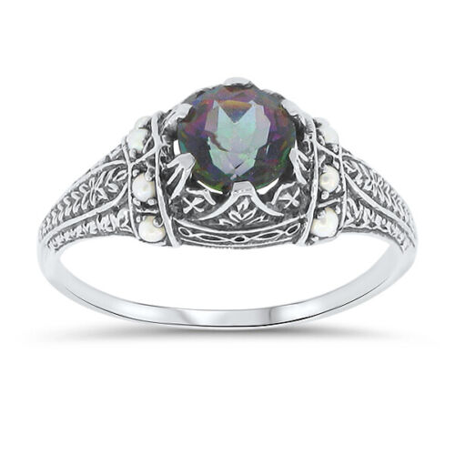 MYSTIC QUARTZ & PEARL 925 STERLING SILVER ANTIQUE STYLE RING SIZE 7.75       #11
