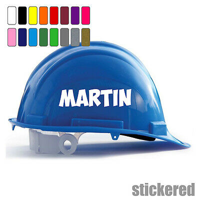 2 x PERSONALISED HARD HAT SAFETY HELMET VINYL NAME STICKERS DECALS FOR BUILDERS