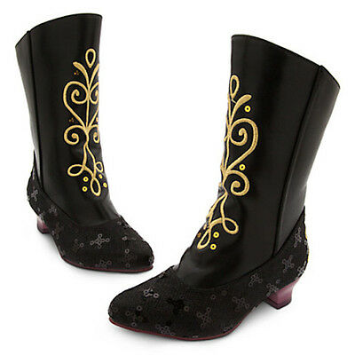NWT Disney Store Anna Black Boots Costume Shoes Girl Frozen Size 2/3  (Frozen Boots)