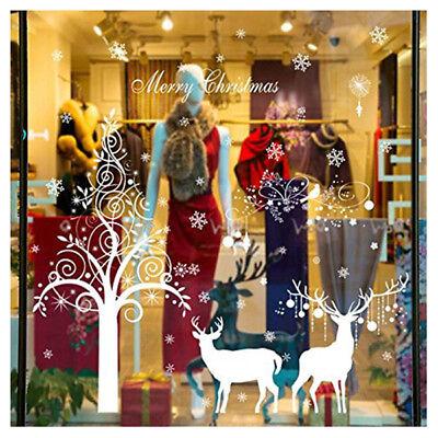 DIY Huge Home Decor Christmas Tree Deer Wall Stickers Window Glass Shop Sto N8B2