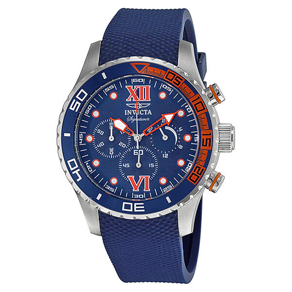 Invicta Signature II Chronograph Blue Dial Stainless Steel Mens Watch 7501 фото