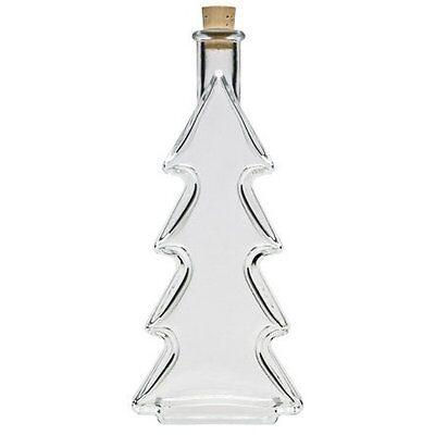 Flasche Mit Kork (Dekorative Weihnachtsflasche Glasflasche mit Korken 200 ml in Tannenbaum - Form)