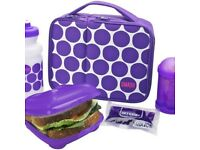 Brand New Sealed Smash 5 Piece Lunch Bag & Water Bottle Set with Sandwich Box – Purple Spot