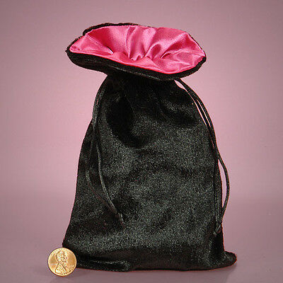 Black Velvet with Satin Lining Drawstring Charm  Bag Wicca Pagan