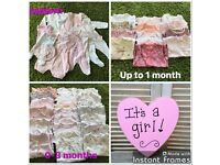 Baby girl newborn, up to 1 month and 0-3 month bundle