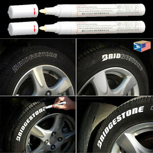 2 LOT TIRE TREAD WATERPROOF PERMANENT MARKER White PAINT PEN RUBBER METAL NEW!