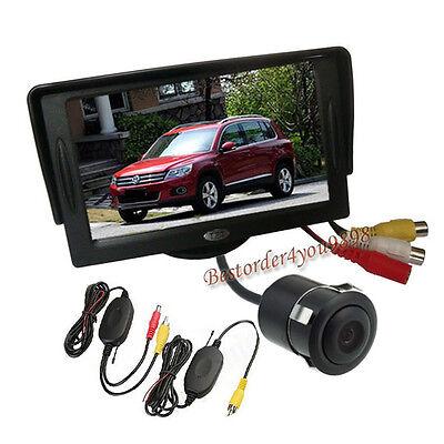 "Wireless Car Rear View Kit Reversing camera 170° + 4.3"" TFT LCD Monitor UK"