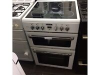 White leisure 60cm ceramic hub electric cooker grill & fan oven good condition with guarantee