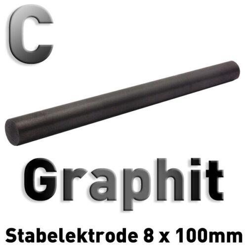 Graphit-Stab-Anode / Elektrode 10 cm x 8 mm Rundstab Graphitelektrode 100 Grafit