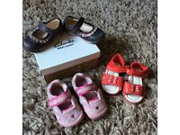 3 pairs baby shoes size 3 & 3.5 Clarks & mothercare worn girls