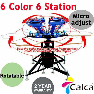 Demo 6 Color 6 Station T-shirt Screen Printing Press Printer Micro-adjust Rotate