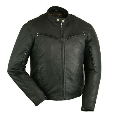 Men's Lightweight  Leather Drum Dyed Naked Lambskin Motorcycle Jacket DS742 Lightweight Leather Motorcycle Jackets