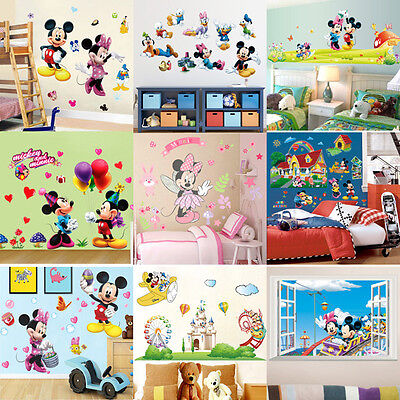 Minnie Stickers (9 Style Mickey Minnie Mouse Wall Sticker PVC Decal DIY Children Room Decor)