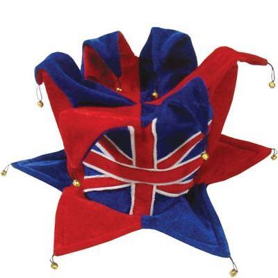 Gb Union Jack Flagge Filz Jester Kostüm Hut Königlich (Jester Hut Kostüm)