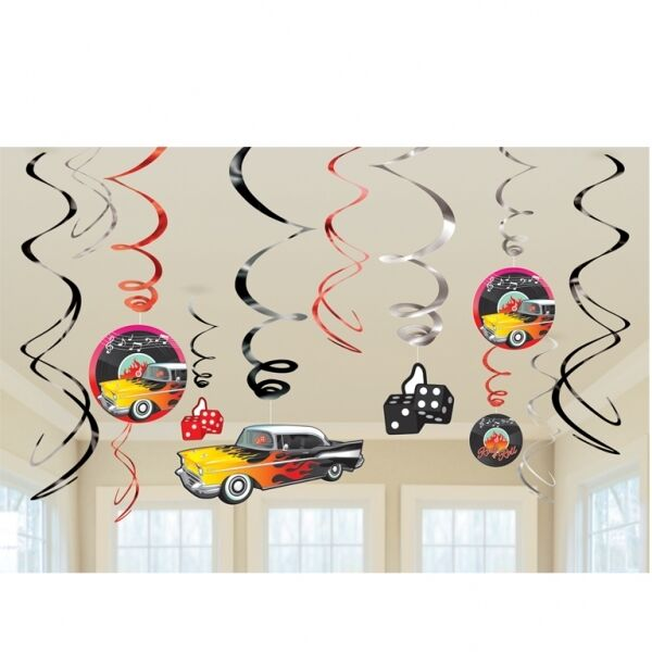 50's Classic Rock n Roll 12 Hanging Swirls  Party Decorations Cars 1950 Dice Fun