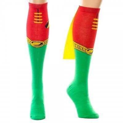 Robin Juniors Knee High Socks w/ Cape Costume Cosplay Batman DC Universe Comics ](Robin Socks)