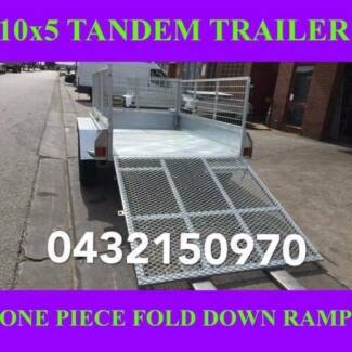 10x5 galvanised tandem trailer heavy duty w crate & ramp 2tons 2
