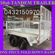 10x6 TANDEM TRAILER WITH CAGE FOLD DOWN RAMP HOP DIP GALVANISED 1 Clayton Monash Area Preview