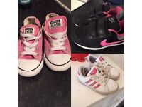 Girls converse size 9, Nike size 9.5 (worn once) & adidas size 10 - £20 for all 3
