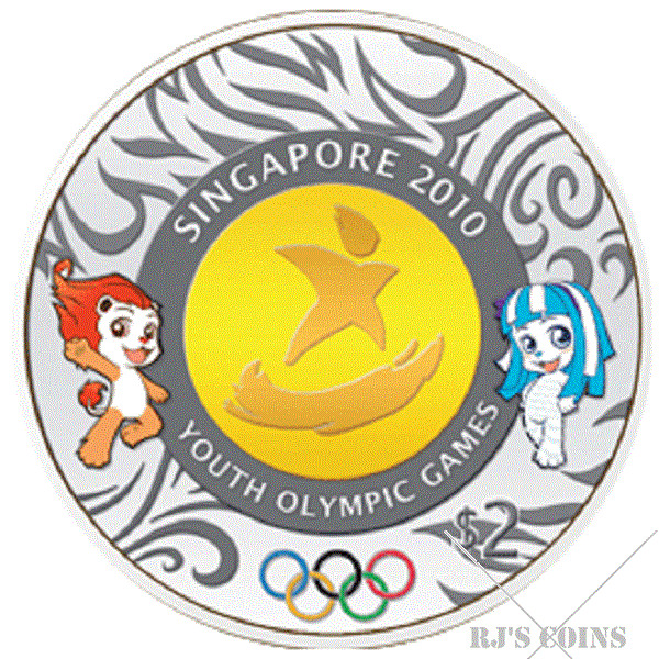 Singapore 2010 Youth Olympic Games Commemorative $2 Bi-Metal Brilliant Uncirculated Coin