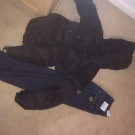 Stone lsland jeans & stone island goose coat AGE 14 fits men's small