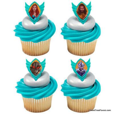 AQUAMAN Movie Party CUPCAKE Birthday Decoration Rings 24 PC Favors Marvel - Cupcake Movie