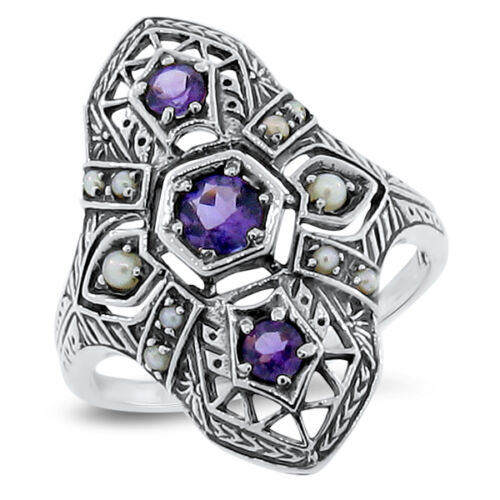 GENUINE AMETHYST & PEARL ANTIQUE DECO DESIGN .925 STERLING SILVER RING       #95
