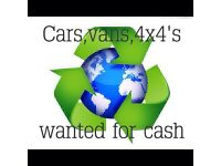 Cars, vans & 4x4s wanted.