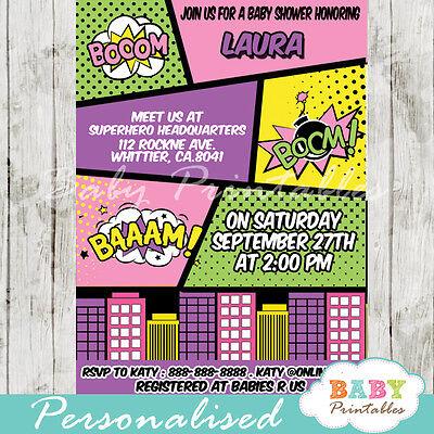 Superhero Retro Comic Book Baby Shower Invitation Girls - Printable Digital File (Superhero Baby Shower Invitations)