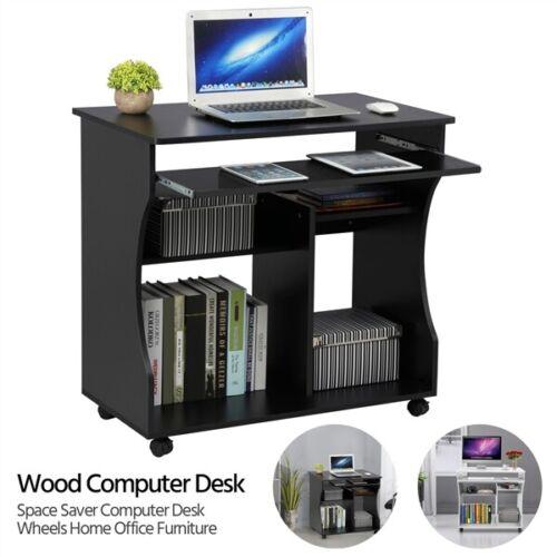 Wood Computer Desk Workstation Study Pc, Computer Desk Wheels