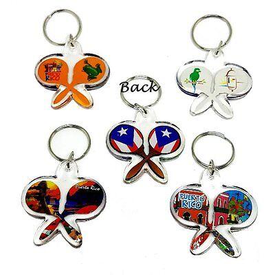 6 X Puerto Rico MARACAS Key Chain Holder Souvenir Rican - WHOLESALE - HALF - Wholesale Maracas