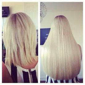 HAIR EXTENSIONS Hairdresser Salon Leicester MOBILE 07708710118 LA Weave Fusion Micro Nano Ring