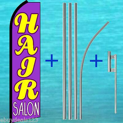 Hair Salon Py Feather Flutter Flag Pole Kit Swooper Banner Advertising Sign