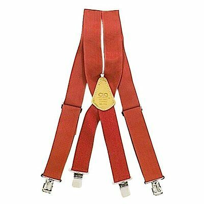 CUSTOM LEATHERCRAFT RED WORK SUSPENDERS - HOLDS NAIL BAGS & APRONS - SHIPS FREE (Custom Suspenders)
