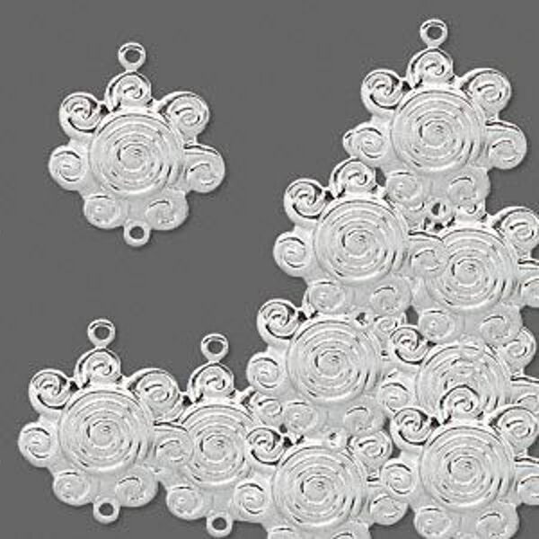 Silver Swirl Flower Charm Link Drops Lot of 20