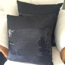 Pair of Black sequin cushions