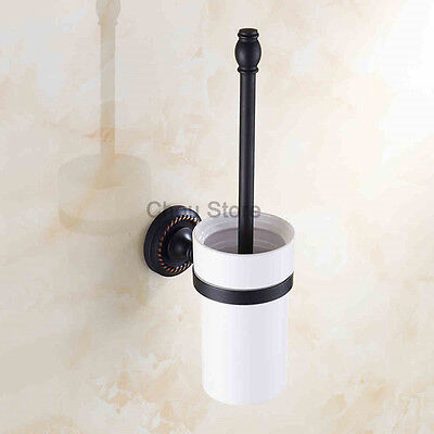 Oil Rubbed Bronze Wall Mounted Bathroom Toilet Brush Holder With Ceramic Cup Set Ceramic Toilet Brush Holder