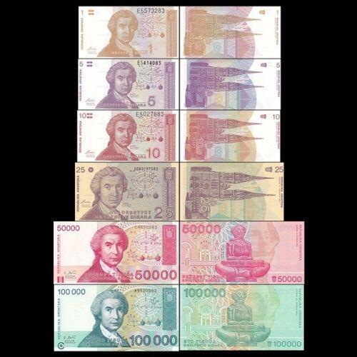CROATIA 6 PIECE UNC BANKNOTE SET, 1 TO 100,000 DINARA