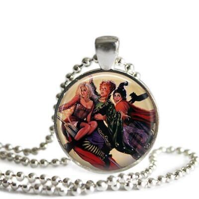 Hocus Pocus The Sanderson Sisters 1 Inch Silver Plated Pendant Necklace Handmade - Sanderson Sisters Hocus Pocus