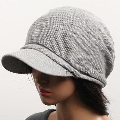 BRIM BEANIE VISOR chic unisex Hats knit fall Cap men womens cadet new 1035 gray - Womens Visor Knit Hat